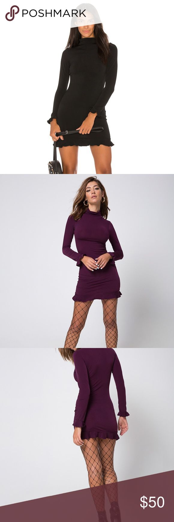 Motel Lafitte mini dress SiZe xs NWT Dress by motel rocks  Day or night, you decide! The Lafitte dress will see you through from meeting room to bar, date night to dancefloor. In a rich plum tone this beauty features a figure hugging fit with high neck, long sleeves and cute ruffle hemline and cuffs. Keep it edgy with fishnet tights and dark smokey eyes. This dress comes in color plum as seen in last few pics Motel Rocks Dresses Long Sleeve
