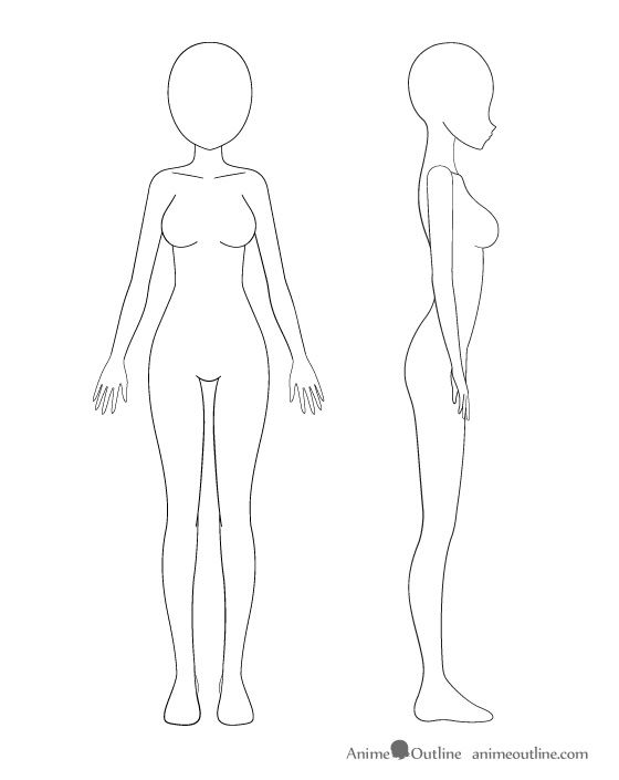 Anime girl body outline drawing skill set pinterest anime girl body and learning