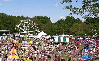 The SC Strawberry Festival occurs in Fort Mill, SC the first full weekend of May each year. The family friendly event is fun for all ages.