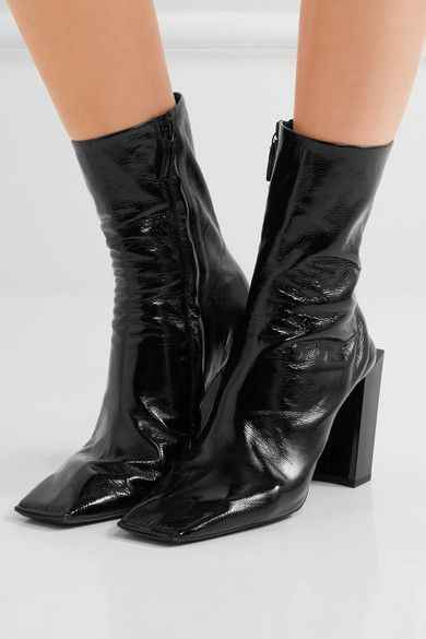 Balenciaga - Glossed-leather Ankle Boots - Black - IT40.5