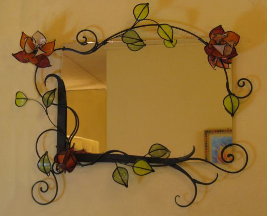 Pretty stained glass flowers and leaves