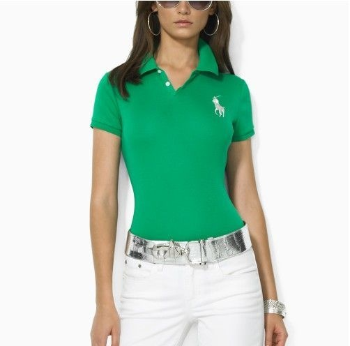 Ralph Lauren Womens Silver Big Pony Polo in Green