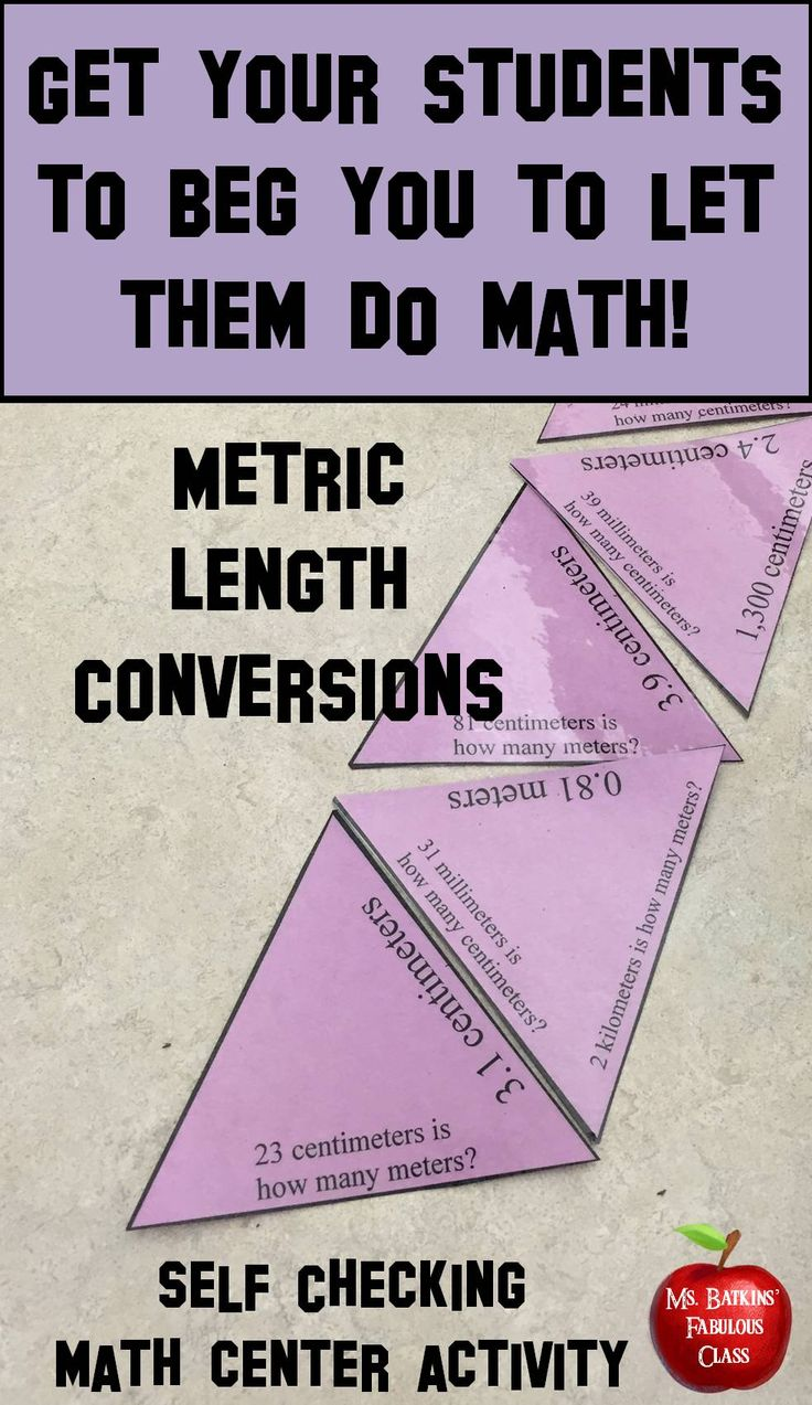 This 21 problem metric length conversion puzzle is ideal for engaging math center work. The problems are all conversions between millimeters, centimeters, meters and kilometers.