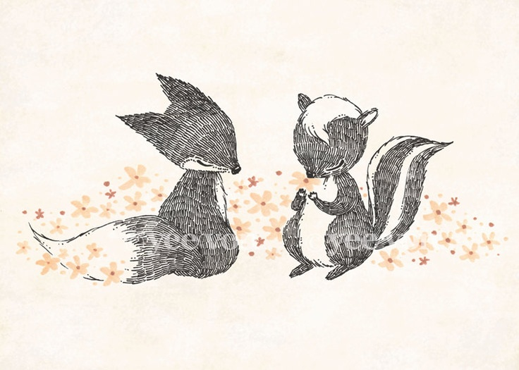 Happy Fox & Skunk Print by whimsywhimsical on Etsy. $12.00, via Etsy. (tattoo idea)