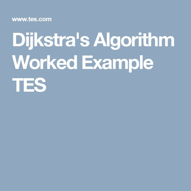 Dijkstra's Algorithm Worked Example TES