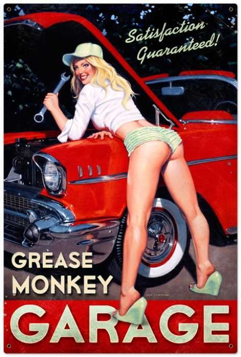 Retro Grease Monkey  - Pin-Up Girl Metal Sign