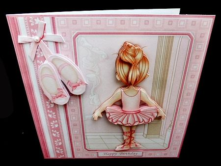 LITTLE BALLERINA 7 5 Decoupage   Insert Mini Kit on Craftsuprint created by Diane  Hitchcox - I printed out onto 240 gram card ,mounted on card using DST,decoupaged with sticky pads ,then added sentiment.