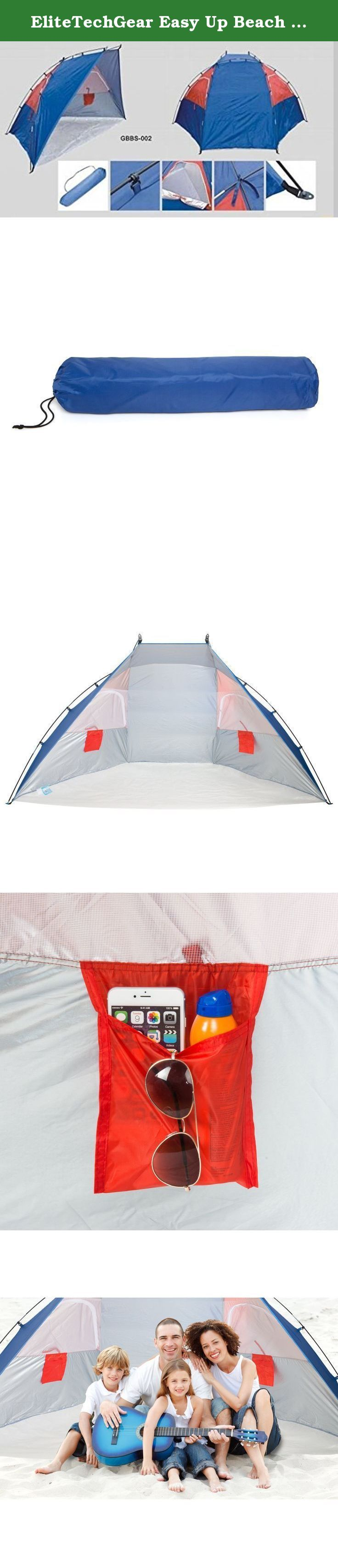 EliteTechGear Easy Up Beach Sun Shade Tent/Canopy. Excellent Cabana/Shelter for Kids & Family at the Beach, Sports Events, Concerts, Picnics, Hiking, Camping, & Outdoors.!. Love the sun but need to have a place to take a break from the heat or the rain? Your EliteTechGear¨ Sun Shade Tent is a must have accessory to take with you to the beach, parks, sporting events, hiking, camping, fishing and more. Perfect if you have kids for time out of the sun or for watching sports events from the...