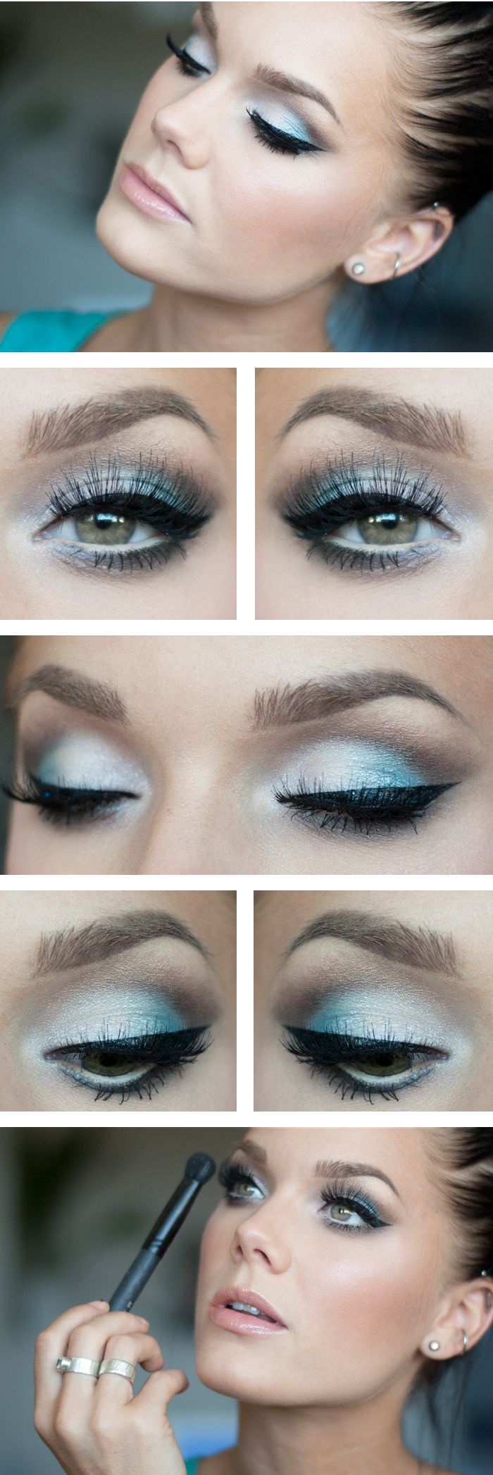 """Today's Look : """" A Touch of Turquoise -Linda Hallberg ( whites, taupes and turquoise... a lovely look on brown/hazel eyes and I'm sure blue or green as well....paired nicely with the barest hint of pink on the lips and cheeks)08/04/13"""