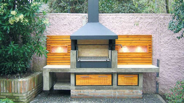 Asador de ladrillo y madera patio pinterest for Modelos de jardines interiores
