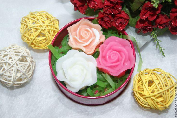 """Купить """"РОЗЫ"""" набор мыла в коробочке - розовый, роза, мыло ручной работы, цветы"""