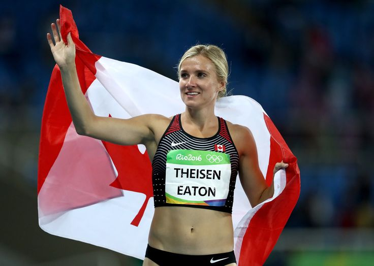 Brianne Theisen Eaton of Canada celebrates to winning Bronze in the Women's Heptathlon on Day 8 of the Rio 2016 Olympic Games at the Olympic Stadium on August 13, 2016 in Rio de Janeiro, Brazil. (Source: Alexander Hassenstein/Getty Images South America)