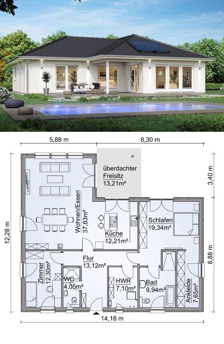 Fertighaus Bungalow mit Walmdach Architektur & 3 Zimmer Grundriss ebenerdig, Kü