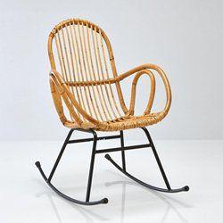 Rocking chair vintage en rotin, Siona