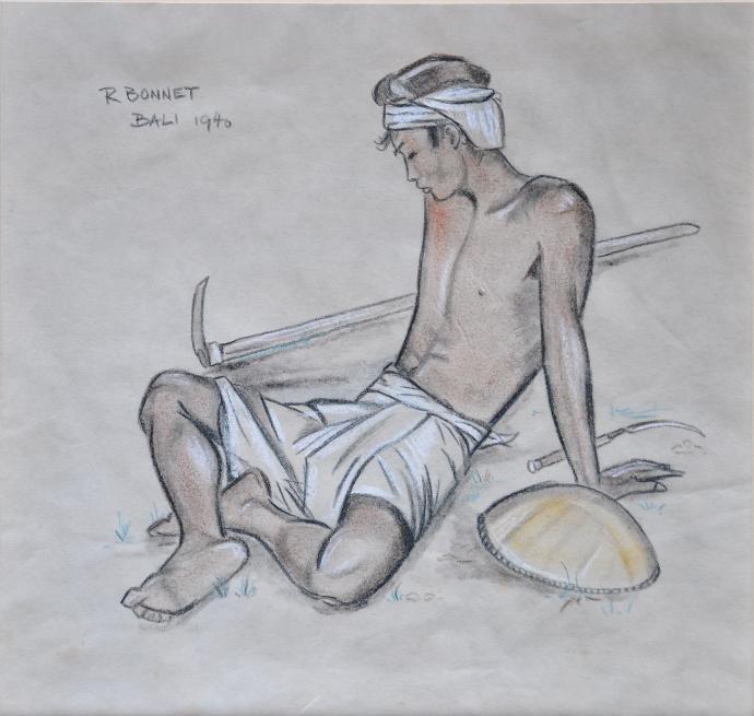 Rudolf Bonnet drawing, Bali, Indonesia