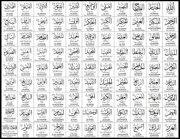 tulisan 99 asmul husna arab latin dan artinya lengkap