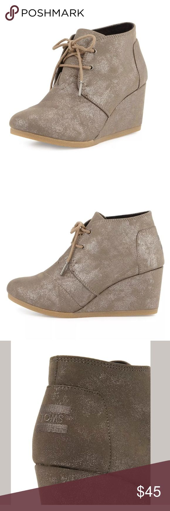 """Toms Gunmetal Metallic Wedge Bootie Toms Gunmetal Metallic Wedge Lace Up Bootie. 2 3/4"""" Heel 1/2"""" Platform. Only Worn Once. Like New / Excellent Condition Toms Shoes Ankle Boots & Booties"""