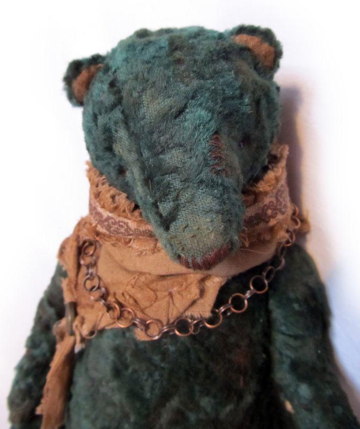 Teddy bear Mr. Green - made from old plush fabric. Vintage teddy bear. by BelayaBelkabears on Etsy
