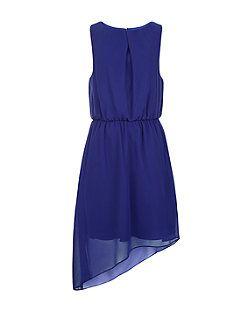 Teens Blue Asymmetric Sleeveless Dress | New Look