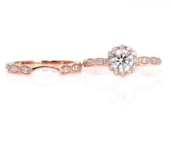 14k rose gold moissanite engagement ring wedding set wedding band diamond halo conflict free - Rose Gold Wedding Ring Sets