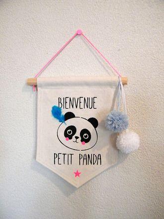 Bannière tissu «Petit Panda» décoration chambre d'enfant  : Décoration pour enfants par tribugraphik