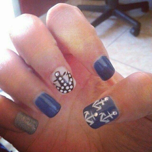 #anchor #nails #nail_art #spring #summer #nail_design #2015 #blue #black #white #navy_nails