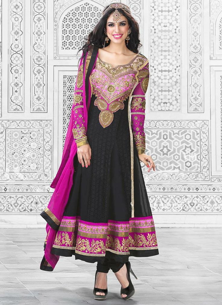 #Black #Georgette #Anarkali #Suit