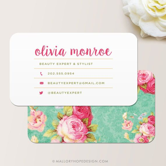 Vintage Floral Calling Card / Calling Card / Business Card by © MalloryHopeDesign.com