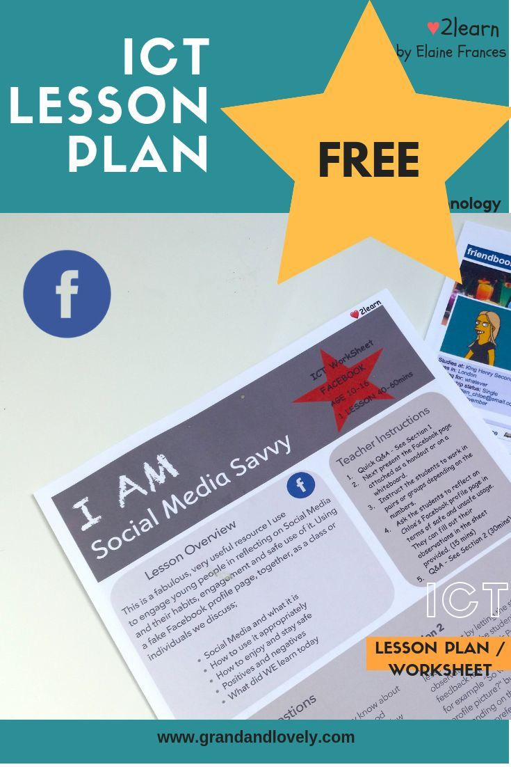 Ict Lesson Plan To Teach Student Ages 9 16 About Web Safety Using A Realistic Facebook Activity Websafety Onlinesafety Web