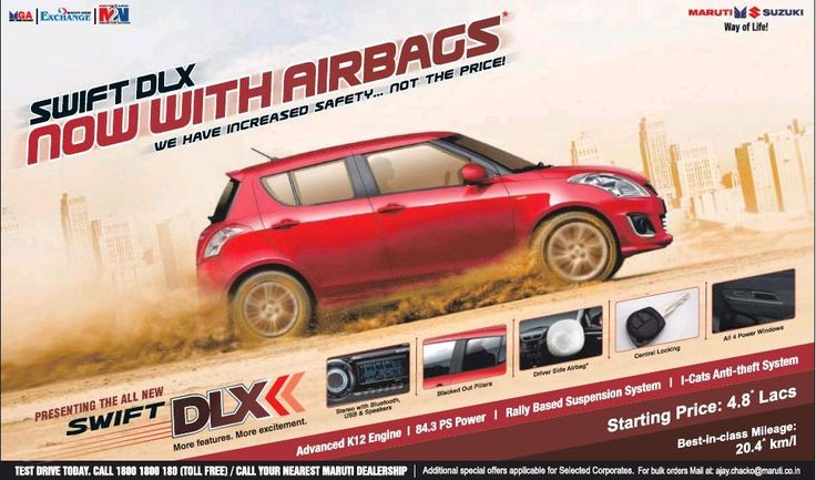 #Maruti #Swift DLX with airbag launched at INR 4.8 Lakhs