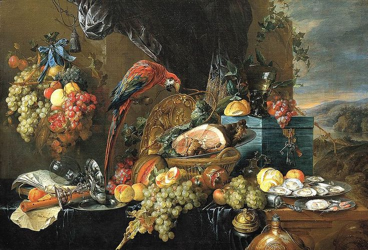 File:Heem, Jan Davidsz. de - A Richly Laid Table with Parrots - c. 1650.jpg