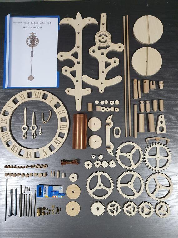 Wooden Wall Clock Lily Kit Diy Project Kit Pendulum Etsy Engranajes De Madera Relojes De Madera Maquinaria De Reloj