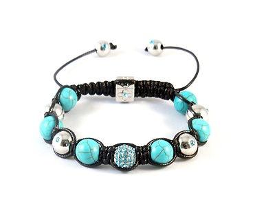 turquoise & silver disco ball shamballa bracelet £12.99 free shipping