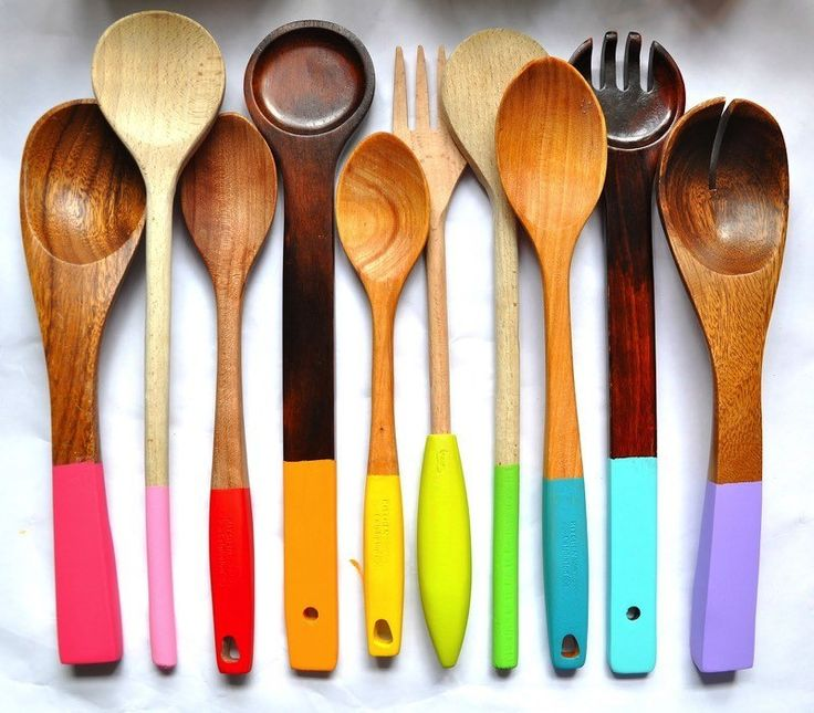 Dip-Dye Your Wooden Spoons | 15 Easy DIY Kitchen Projects
