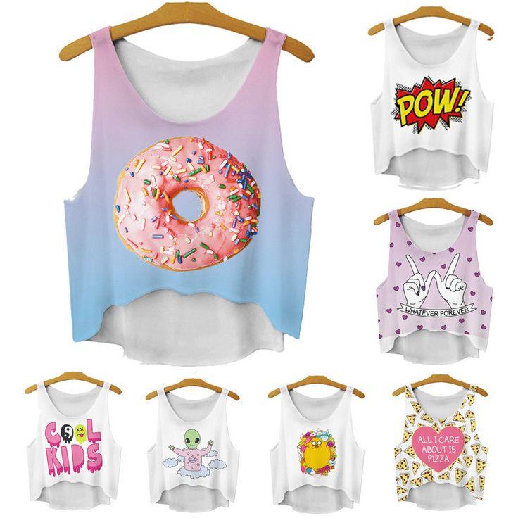 Alisister мода нерегулярные девушки короткие crop топы лето 3D женщины топы и майки сладкий пончик/алмаз рукавов обрезанные купить на AliExpress