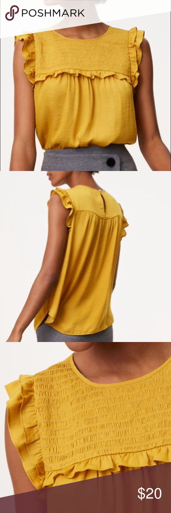 Smocked silky top from LOFT Silky ruffle trim top by LOFT in pretty yellow color. NWOT. never worn size petite medium. Perfect condition. LOFT Tops