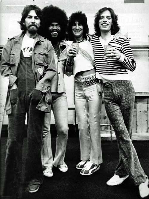 George Harrison, Billy Preston, Ron Woods and Mick Jagger