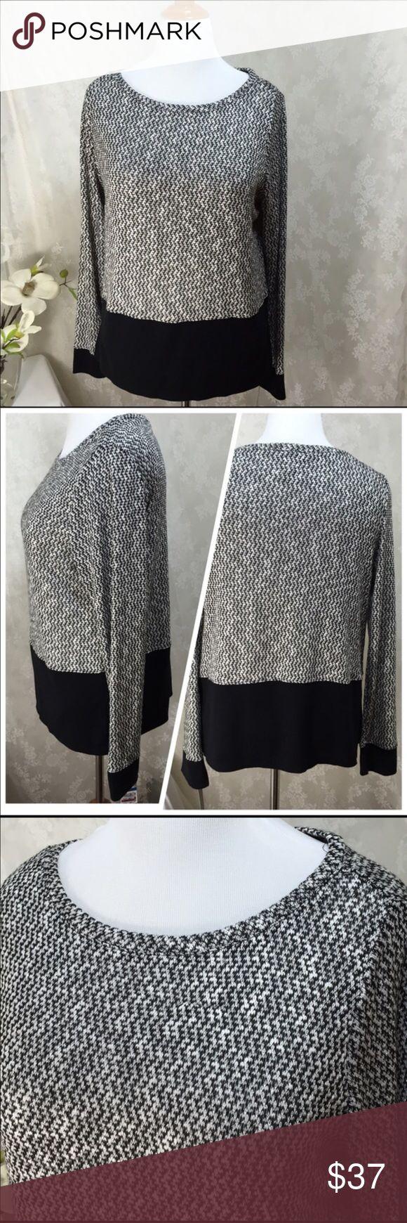 "INC black and white long sleeve blouse. B019 Inc black and white long sleeve blouse. 23"" across armpit to armpit 25"" long. Lightweight. Inc black and white long sleeve blouse. B019 INC International Concepts Sweaters"