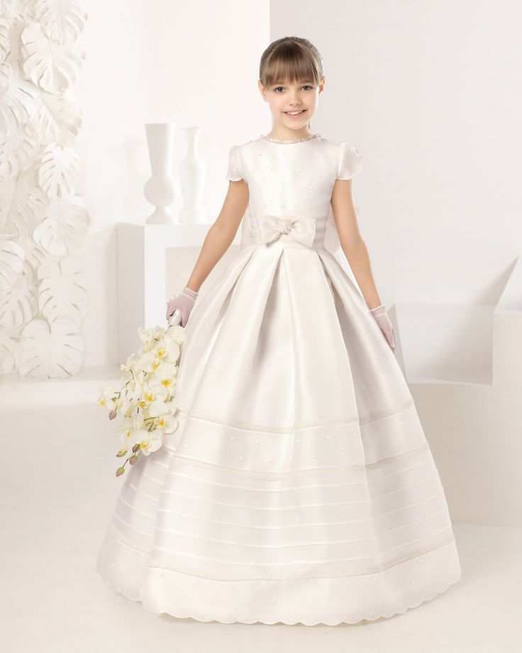 ROPUNZEL - Rosa Clará / First Communion dress with basketweave pin tucks. Available in white and ivory.