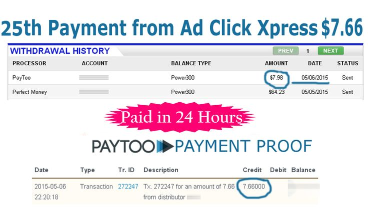 Ad Click Xpress is Paying	 My 25th Payment $7.66 to PayToo Earn 4% daily: http://www.adclickxpress.com/?r=xSpueJXBJ6&p=mx