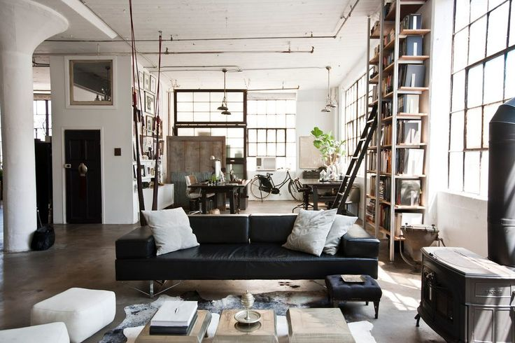 industrial warehouse design living room industrial with sprinklers contemporary bookcases