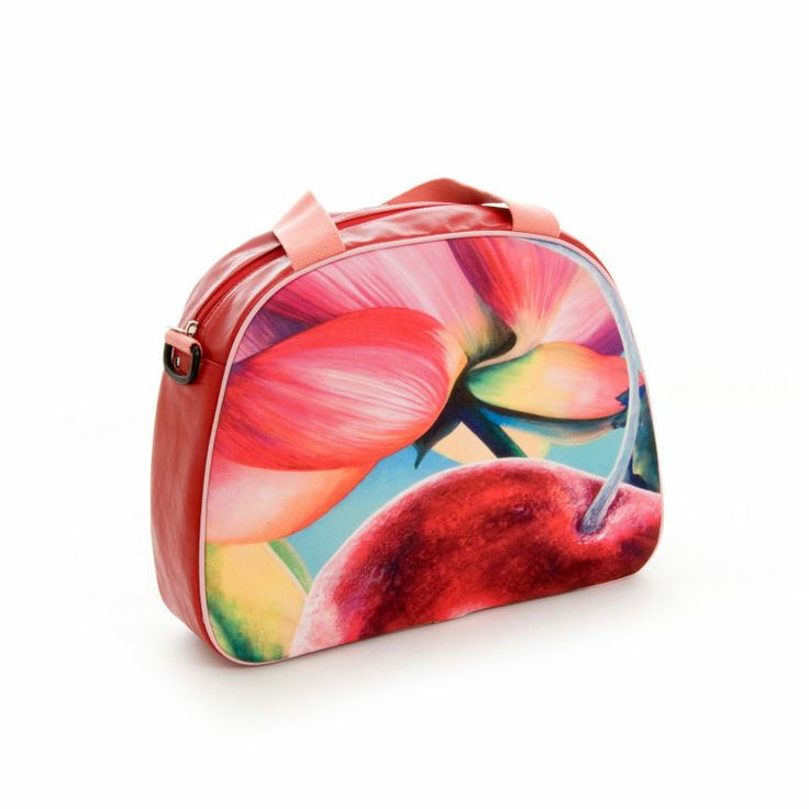 """Artbag """"Cherry"""" displays Dutch floral art on outdoor textile on one side of the bag. Shoulder bag with detachable handles, zipper inside. Four studs on the bottom of the bag help it stand upright. Red-coloured artificial leather, with soft (salmon) pink hand- and shoulder straps. Price: 60 euro excl transport costs. Order via info@florifique.com."""