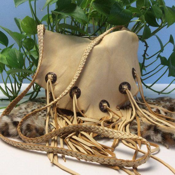 Deer Hide Fringed Purse with Pocket OOAK Leather by LeatherByLisa