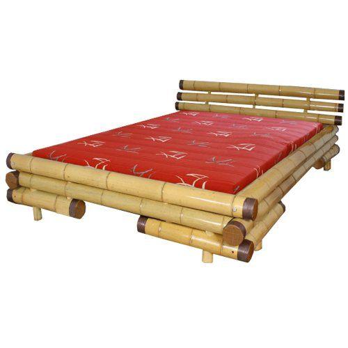 Homestyle4u Bambusbett Futonbett Bambus Bett 180 x 200 cm in natur Doppelbett Bettgestell inkl. Lattenrost
