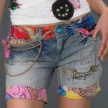Pantalones Desigual bordado con cuentas Jeans Shorts Femenino mujeres calientes 2015 Primavera