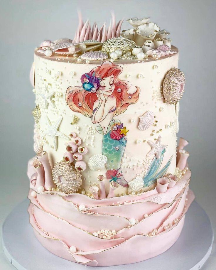 Beautiful Hand Painted Pink Gold Cake Ariel Theme Mermaid Birthday Cakes Mermaid Cakes Little Mermaid Cakes