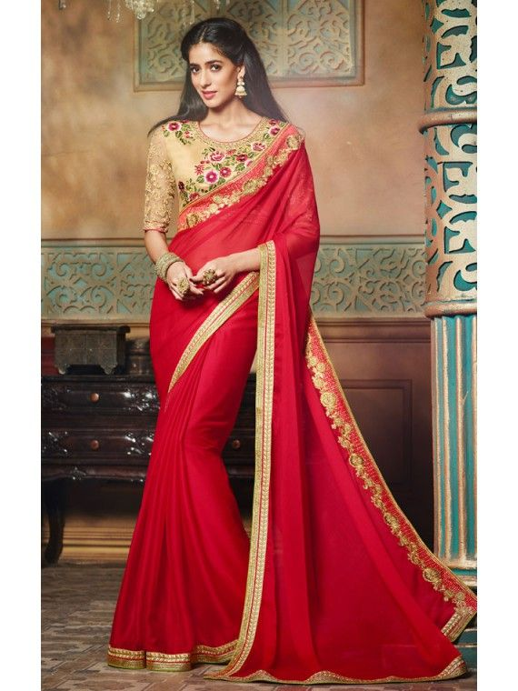 Flaring Red and Golden shaded Indian Designer Saree