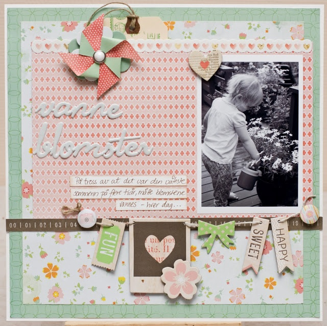 Watering the flowers.. Papers and embellishments from American Crafts