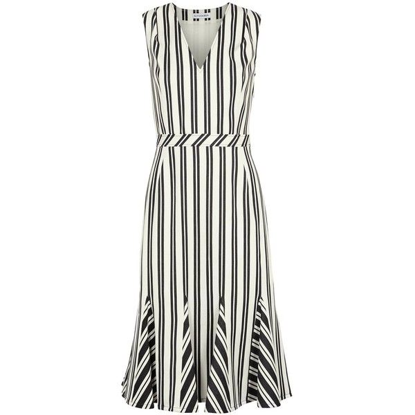 Altuzarra Anemone Striped Wool Blend Midi Dress - Size 12 ($1,700) ❤ liked on Polyvore featuring dresses, striped flare dress, white flare dress, white dress, flared dresses and white striped dress