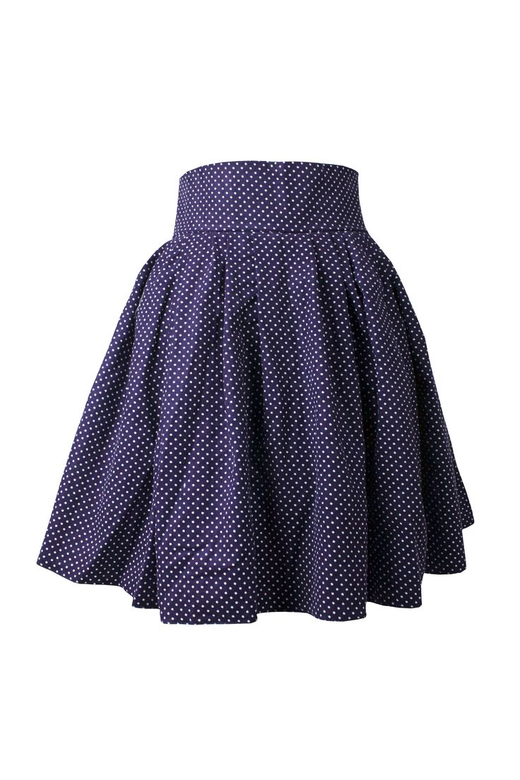 Vollers Corsets |  Purple Polkadot  Skirt | Knee length full skirt in soft fine 100% cotton corduroy makes a great in between season skirt with matching underbust corset.  The skirt has a wide waistband which makes it very adaptable fashion piece.